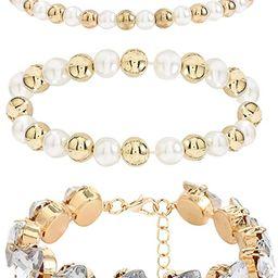 Woeoe 3 Pcs Beaded Bracelet Gold Rhinestone Pearl Layered Stackable Bracelets Dainty Crystal Stre... | Amazon (US)