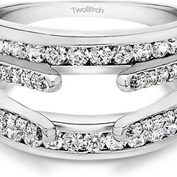 TwoBirch Sterling Silver Combination Cathedral and Classic Ring Guard With Cubic Zirconia (1.01 c... | Amazon (US)