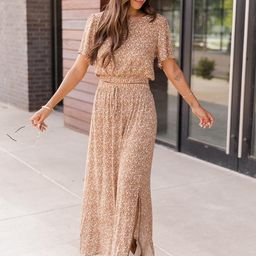 In the Moment Beige Floral Maxi Skirt   The Pink Lily Boutique