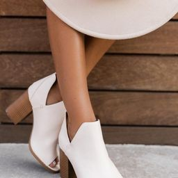 Cara Cream Open Toe Booties   The Pink Lily Boutique