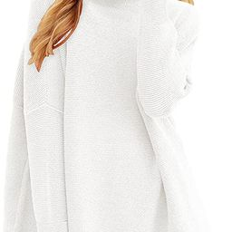 ANRABESS Women Casual Turtleneck Batwing Sleeve Slouchy Oversized Ribbed Knit Tunic Sweaters Pull...   Amazon (US)