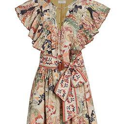 Myia Paisley Ruffled Mini Dress   Saks Fifth Avenue
