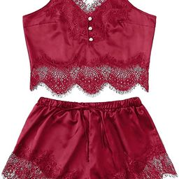 DIDK Women's Lace Trim Bralette Shorts Pajama Set Lingerie Nightwear | Amazon (US)
