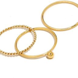 BENIQUE Stacking Rings for Women Teen Girls, 1mm Thin 14K Gold Filled Band or Sterling Silver, Cu... | Amazon (US)