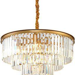 Gold Modern Crystal Chandelier Lighting K9 Crystal Round Chandelier Hanging Ceiling Light Fixture... | Amazon (US)