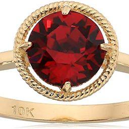 10k Gold Round-Cut Birthstone Ring made with Swarovski Crystal | Amazon (US)
