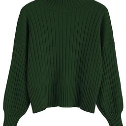 ZAFUL Women's Crew Neck Long Sleeve Pullover Crop Sweater Mock Neck Lantern Sleeve Ribbed Knit Ju... | Amazon (US)