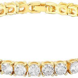PAVOI 14K Gold Plated Cubic Zirconia Classic Tennis Bracelet | Gold Bracelets for Women | 4mm CZ,... | Amazon (US)