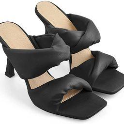 PINOKISS Women's Square Open Toe High Heel Ruffle Strappy Sandals | Amazon (US)