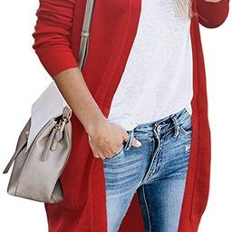 FOLUNSI Women Cardigans Sweaters for Women Open Front Long Knitted with Pockets | Amazon (US)