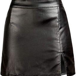 Women's Stretch Faux Leather Skirt High Waist Split Mini Bodycon Pencil Skirt | Amazon (US)