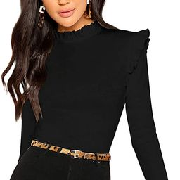 Romwe Women's Stand Collar Slim Fit Frilled Ruffles Shoulder Solid Keyhole Blouse Top | Amazon (US)