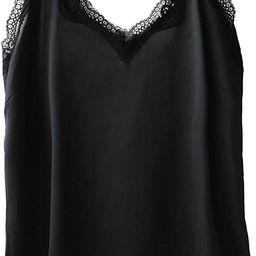 Wantschun Womens Satin Silk Camisole Lace Straps Tank Top Cami V-Neck | Amazon (US)
