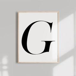 Black Alphabet ART PRINT  Monogram Letter Typography wall art | Etsy | Etsy (US)
