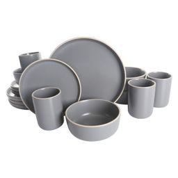 Gap Home 16-Piece Round Dark Gray Stoneware Dinnerware Set | Walmart (US)