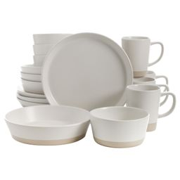 Speckled Slip 16-Piece with Speckle and Raw Bottom White Stoneware Dinnerware Set | Walmart (US)