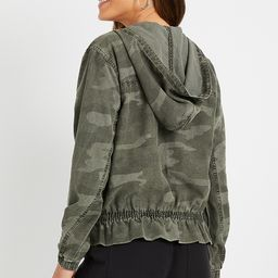 Camo Hooded Cropped Military Jacket   Maurices