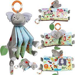 Soft Baby Cloth Book,Crinkle Elephant Fabric Infant Books Teething Teether Toys Education Bunny T... | Amazon (US)
