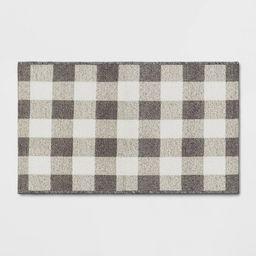 "1'8""x2'10"" Harvest Layering Buffalo Plaid Tapestry Doormat Gray - Threshold™   Target"