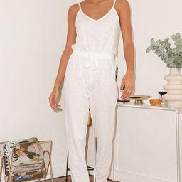 Homebody Cream Sleeveless Drawstring Lounge Jumpsuit   Lulus (US)