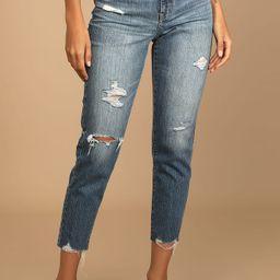 The Original Medium Wash Denim Distressed High Rise Mom Jeans   Lulus (US)