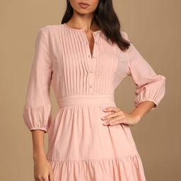 Weekend at the Cottage Blush Pleated Tiered Mini Dress   Lulus (US)