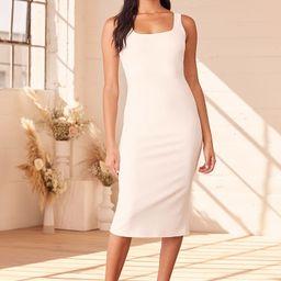 Number One Stunner White Bodycon Midi Dress   Lulus (US)