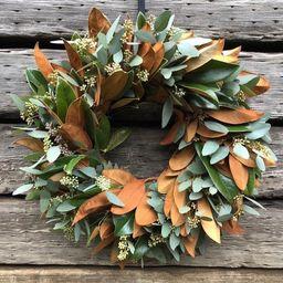 Fresh Magnolia and Seeded eucalyptus Wreath Mixed Greens Decor Fall front door wreath decor autum... | Etsy (US)
