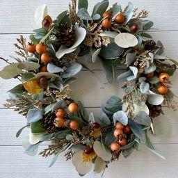 Fall wreath for front door, Neutral farmhouse wreath, modern rustic woodland wreath, Pinecone & b... | Etsy (US)