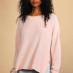 Life of Bliss Blush Pink Ribbed Knit Oversized Sweater   Lulus (US)