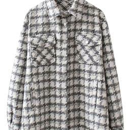 'Aelgifu' Thick Houndstooth Oversized Shirt Jacket | Goodnight Macaroon