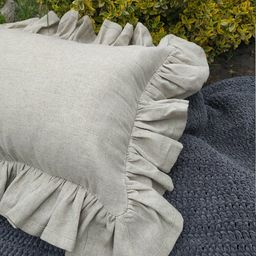 Luxury linen shabby chic pillows case Ruffled Linen Euro Sham | Etsy | Etsy (US)