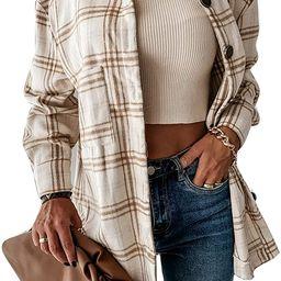 Fashion Women's Casual Wool Blend Lapel Plaid Long Sleeve Button Down Shacket Shirts Jacket Coat | Amazon (US)