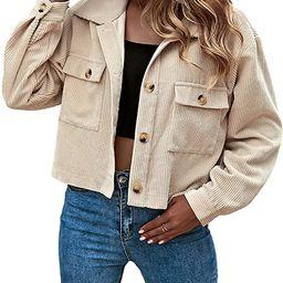 Gihuo Women's Fashion Cropped Button Down Corduroy Shirt Shacket Jackets | Amazon (US)