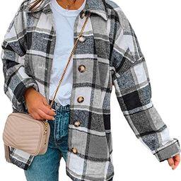 Yeokou Women's Fall Color Block Plaid Flannel Shacket Jacket Button Down Shirt Coat Tops | Amazon (US)