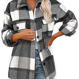 AUTIWITUA Women's Brushed Plaid Shirts Long Sleeve Casual Flannel Lapel Button Down Pocketed Shacket | Amazon (US)