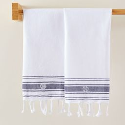 French Stripe Cotton Guest Towels, Set of 2 | Mark and Graham