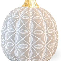 Boston International Decorative Pumpkin Figurine, 5.5 x 7-Inches, Grey Diamond Flower   Amazon (US)