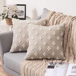 MIULEE Set of 2 Decorative Throw Pillow Covers Rhombic Jacquard Pillowcase Soft Square Cushion Ca... | Amazon (US)