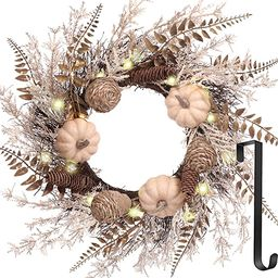 Fall Wreaths, 22 Inch Harvest Wreaths with Hanger and LED Light for Front Door with Pumpkins Pine... | Amazon (US)
