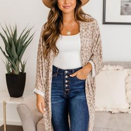 Chill Kind Of Crush Taupe Animal Print Kimono   The Pink Lily Boutique