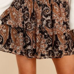 Persian Paradise Black Brown Mini Skirt | Red Dress