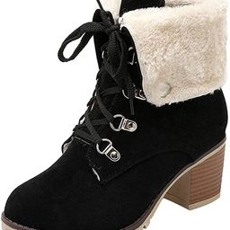 SO SIMPOK Womens Lace Up Fur Winter Snow Boots Block Heel Ankle Boots Warm Suede Outdoor Chunky H... | Amazon (US)