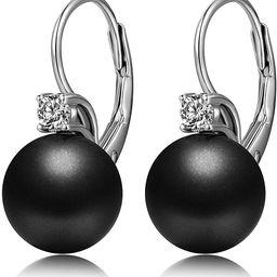 Han han Pearl Dangle Earrings with Leverback Design, 925 Sterling Silver Pearl Drop Earrings for ... | Amazon (US)