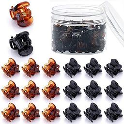 48 Pcs Small Mini Hair Claw Clips for Women Girl's Hair (Black Brown) | Amazon (US)