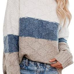 Blooming Jelly Womens Oversized Color Block Sweater Long Sleeve Shirt Chunky Knitted Mock Neck To... | Amazon (US)