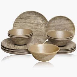 TP Melamine Dinnerware Set, 18-Piece Rustic Dishes Set, Dinner Service for 6 with Bowls and Salad...   Walmart (US)