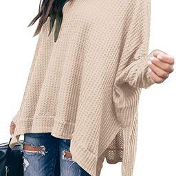 ANRABESS Women Turtleneck Batwing Sleeve High Low Hem Side Slit Waffle Knit Casual Loose Oversize...   Amazon (US)