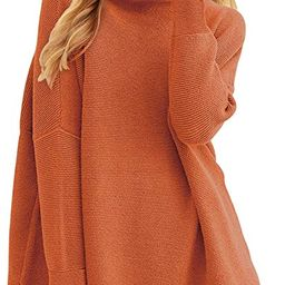 Prinbara Women's Long Sleeve Mock Neck Sweater Loose Fitting Knit Pullover Tops Slouchy Tunic   Amazon (US)