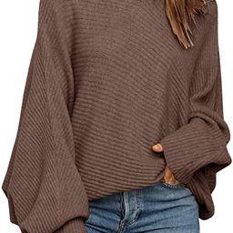 Mafulus Women's Oversized Crewneck Sweater BatwingPuffLong SleeveCable Slouchy Pullover Jum...   Amazon (US)